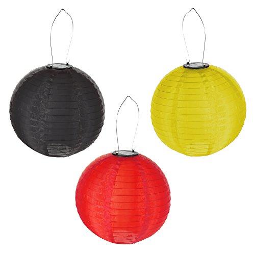 Preis am Stiel 1 x 3er Set - LED Solar Lampion Deutschland Outdoor 30cm | Fanartikel | Lampion...