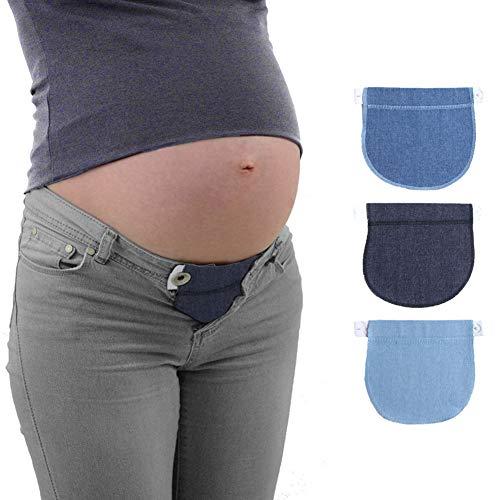 GETIT72 - Cintura elástica extensible para maternidad, pantalones suaves, cintura ajustable, cinturón de maternidad para embarazo, cintura extensible para mujeres embarazadas cotton-black Tamaño libre