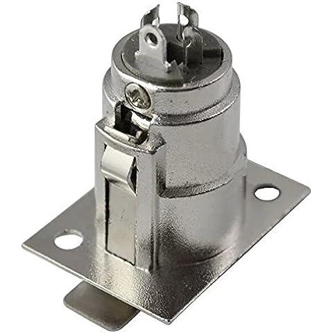 Goliton 3 pin XLR femmina Jack Montaggio a pannello dello zoccolo convertitore dell'adattatore del connettore Nickel