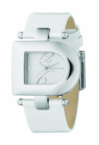 DKNY NY4314 Ladies D Shape Silver Dial, Ivory Leather Strap Watch