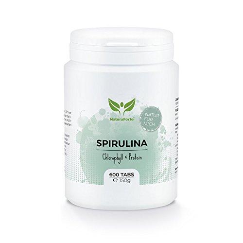 Espirulina Pura y Natural (600 Tabletas) - Ricas en Magnesio, Fibra, Proteínas, Hierro y...