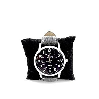 Eton Reloj para hombre reloj de pulsera de acero con esfera marrón analógica de cuarzo. Cierre con correa ajustable de piel negro.