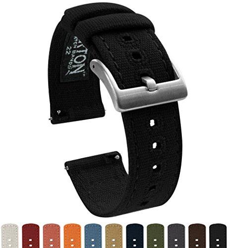 Barton Watch Bands -  -Armbanduhr- CANQRBLK20 (Schwarz Stahl Armbanduhr Fossil)