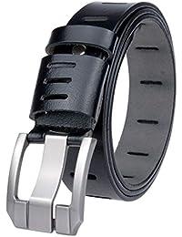 Cinturones hombres negro marrón real Cuero Caja regalo metal pin Hebilla  plata diseño vintage bronceado Cinturón… 807e088d4555