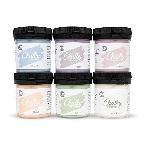 LM-Kreativ Chalky Kreidefarbe (Pastelltraum) - - Finish Kreide-Farbe, Pastell, Vintage-Look, Shabby-Chic-Look, Land-haus-Stil, Chalky-Sets, ähnlich Viva Decor deckend, 6 x 80 ml