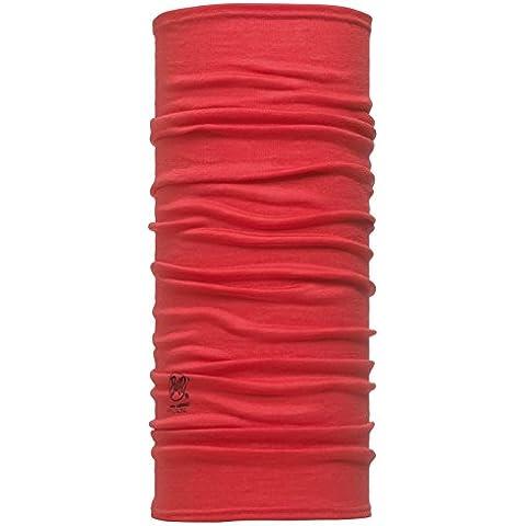 Buff Slim Fit Merino Wool- Braga de cabeza para niño, color rojo, talla 22.5 cm