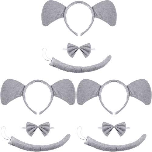 WILLBOND 9 Stücke Tier Ohren Stirnband Fliege und Schwanz Kostüm Satz für Halloween Cosplay Kostüm oder Party Dekoration ((Stil Elephant Ohren Stirnband Fliege und - Wolfs Schwanz Und Ohren Kostüm