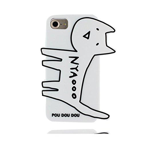 """Case iPhone 7 Plus Coque, TPU Material Flexible Étui iPhone 7 Plus Cover 5.5"""", Preuve de choc [ 3D Cartoon chat ] - Pretty Soft Rose blanc"""