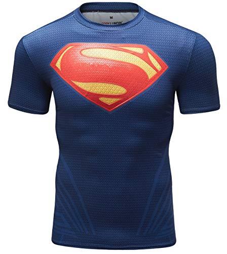 Cody Lundin Herren Fitness Engen T-Shirt Super Hero Serie Kurze Ärmel für Männer Elastic Sport Gym Wear Shirt für Männer (Farbe b, (Elastic Mann Kostüm)