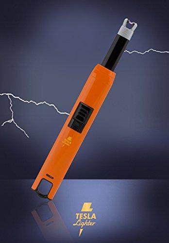 TESLA Lighter T07 | Lichtbogen Feuerzeug, Grillfeuerzeug, Stabfeuerzeug, BBQ, elektronisch wiederaufladbar, aufladbar mit Strom per USB, ohne Gas und Benzin, mit Ladekabel, in edler Geschenkverpackung, Orange