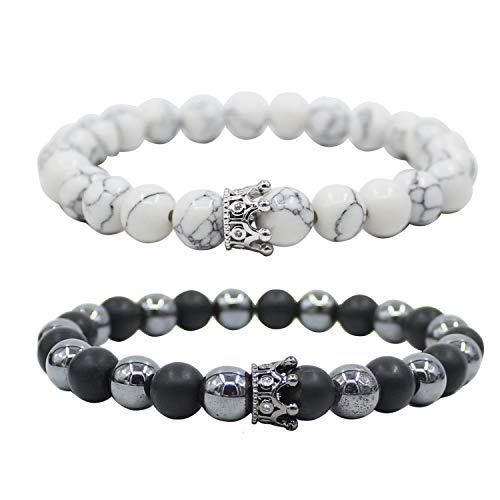 UEUC King & Queen Crown Abstand Paar Hämatit Armbänder Seine Ihr Schwarz Achat 8mm Perlen Armband -