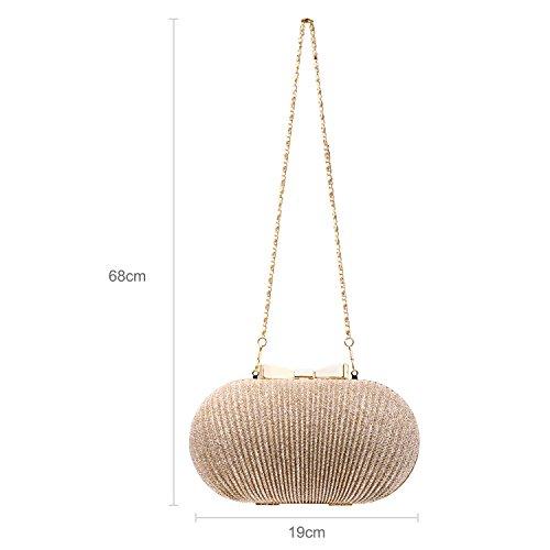 Sasairy Damen Elegant Clutch Abendtasche mit Abnehmbar Kette Frauen Falten Handtasche für Abend/Hochzeit,Silber Golden