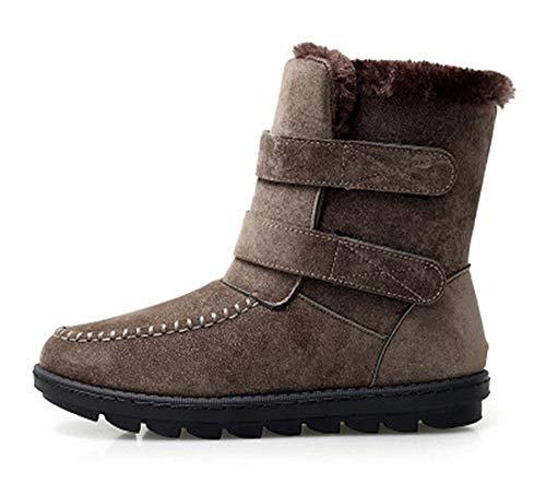 AARDIMI Winterstiefel Damen Gefüttert Schneestiefel Bequeme Wanderschuhe Blockabsatz Outdoor Schwarz Sneaker Klettverschluss Schneeschuhe (39 EU, Braun)