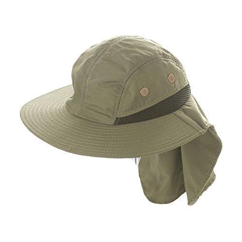 Sombrero verde para sol ala ancha con visera para aire libre, cuello cubierto para pesca, canotaje, senderismo, deporte