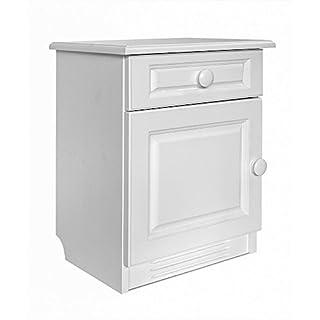 abritus Nachttisch Nachtkommode mit Schublade &Tür Kiefer Massiv weiß »430«