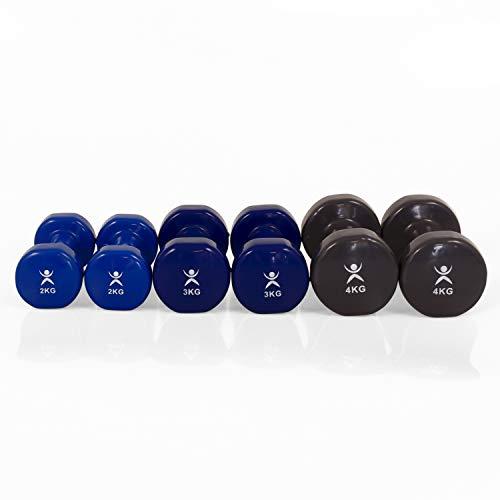 AFH-Webshop 18 Kilogramm Set | 3 Hantel Paare aus Vinyl | Gymnastikhanteln | Hanteln | Kurzhanteln | 3 Paar | 2X 2,0 Kg | 2X 3,0 Kg | 2X 4,0 Kg