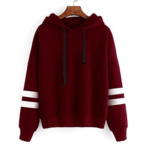 MRULIC Frauen Straße Mode Tops Streetwear Gedruckt Hoodie Pullover Mit Kapuze Sweatshirt 32-46 (S, Rot)