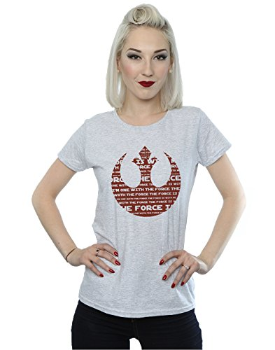 Star Wars Femme Rogue One I'm One With The Force Alliance Emblem Red T-Shirt Heather Gris