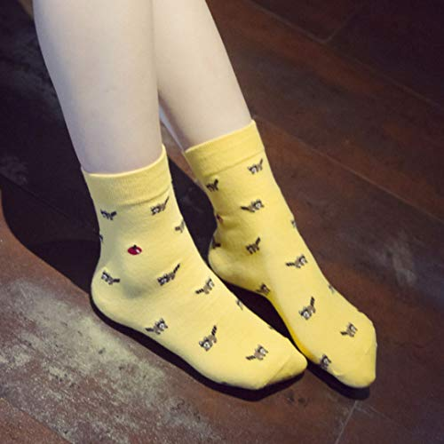 Solid Color Knie-socken (Gecheng Praised Women New Cotton Cute Animal Socks All Season Fashion Cartoon Solid Color Sockes(None A 04 Yellow))