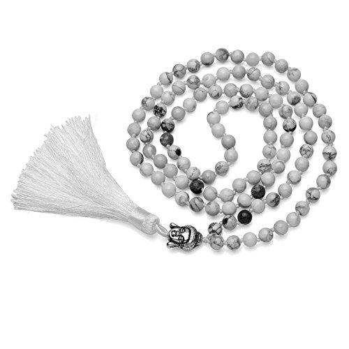 QGEM 108 Perlen Edelstein Yoga Armband Wickelarmabnd Chakra lebensbaum Buddha Buddhistische Tibetische Gebetskette Healing Reiki Mala Kette Halskette mit lebensbaum Anhänger (Weiß Howlite(Buddha))