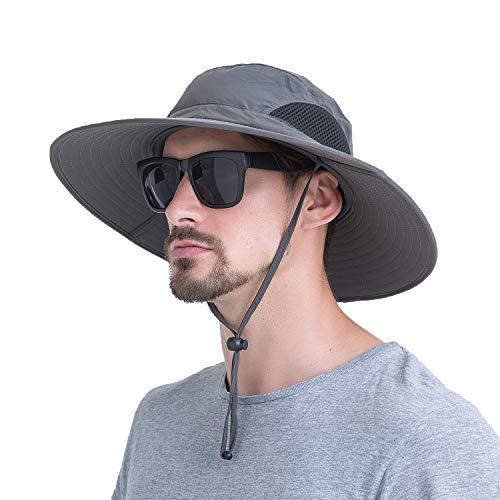 Momoon Sommerlicher atmungsaktiver Mesh-Hut mit breitem Rand Fischerhut mit verstellbarem Kordelzug zum Wandern, Traving, Outdoor.Momoon