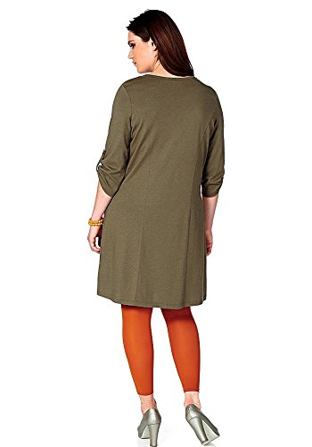 Sheego - Robe - Opaque - Femme Multicolore Kaki Vert - Kaki