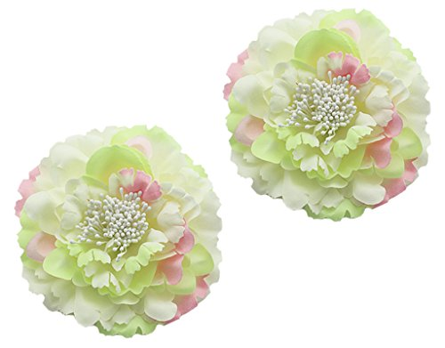 BONAMART 2 Stück Frauen Baby Mädchen Kinder Blumen Haarspangen Set Schleife Haarschmuck Pfingstrose Hellgrün