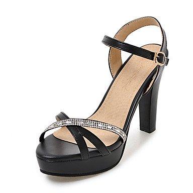 Sandali Primavera Estate Autunno scarpe Club PU Office & carriera parte & abito da sera Chunky fibbia tacco nero rosa di mandorle bianche Black