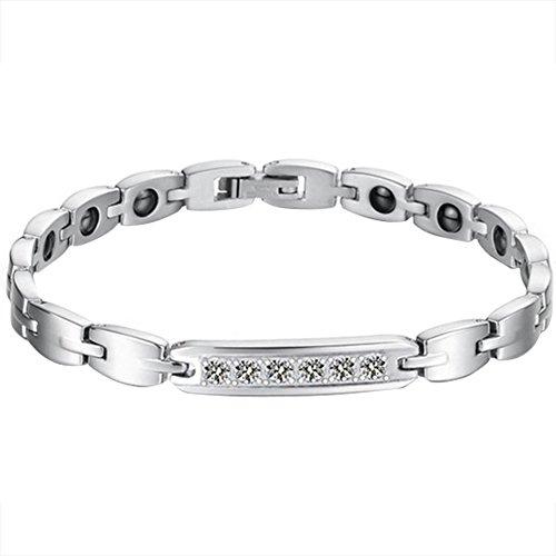 JewelryWe Schmuck Edelstahl Paare Armbänder mit Zirkonia Schwarz Magnet Armband Magnetarmband Partnerarmband Armreif für Damen
