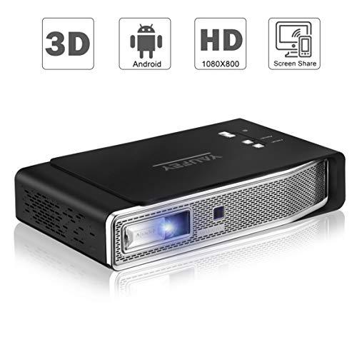 yaufey Mini DLP Beamer Projektor 3800 Lumens Support 3D DLP 1080P Full HD WiFi Videoprojektor,...