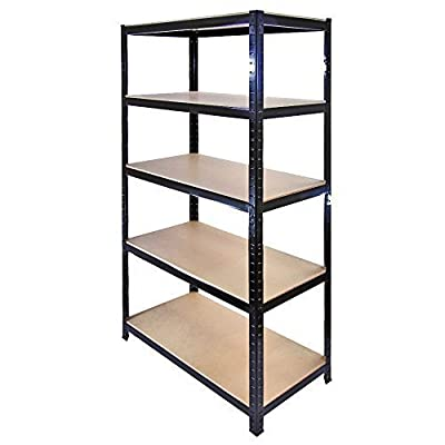Garden Mile® Heavy Duty 5 Tier Garage Racking, Boltless Industrial Racking Shelving ,Greenhouse Staging 150cm x 70cm x 30cm Industrial Strength & MDF boards 180Kgs Per shelf,Perfect Home Storage Solution 1.5m Height