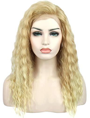 Kalyss ombre blonde lockige wellige synthetische Haar vordere Spitze Perücke für Frauen hitzebeständige synthetische Ohr zu Ohr vordere Spitze Vollkopf Perücke,super natürlich und weich