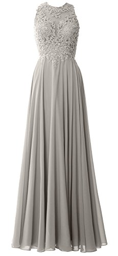 MACloth Women Lace Wedding Party Formal Evening Gown Sleeveless Long Prom Dress (EU42, Silver)