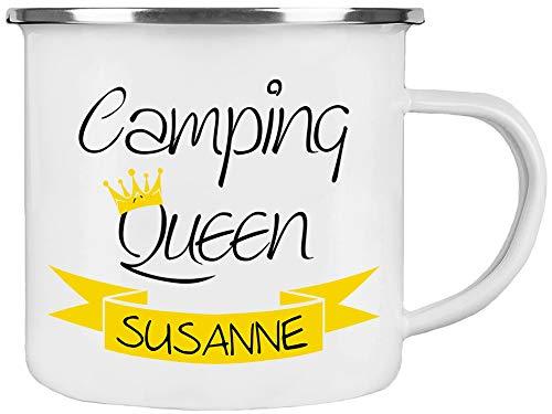 Cadouri Camping Emaille Tasse » Camping Queen « Kaffeetasse Campingbecher Outdoortasse ❤︎ personalisiert ❤︎ mit Wunschname - 300 ml
