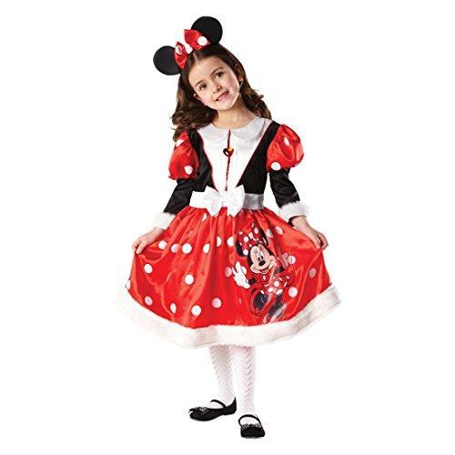Minnie Maus Kostüm Disney Kinderkostüm schwarz-rot-weiß S 3-4 Jahre Minnie Mouse Mädchenkostüm Disneyland Mauskostüm Cartoon Kostüm