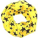 SODIAL(R)Unisexo Bebes Chal de invierno envuelto tejido de estrella de cinco puntas de lazo envuelto Cuello de cintillo mas calido Amarillo