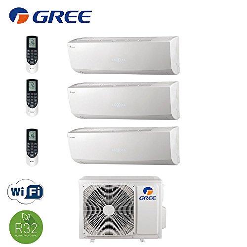 Climatizzatore inverter trial split LOMO 9000 + 9000 + 18000 Btu GREE classe A++/A+ - con pompa di calore / deumidificazione