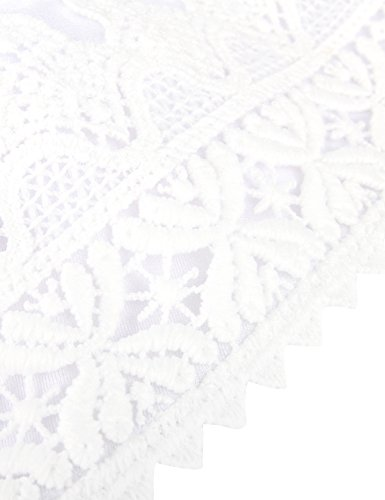 RELLECIGA Damen Bademode Bikini Top Triangel Oberteil Crochet Weiß