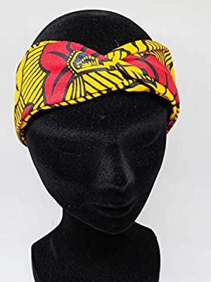 Twisted headband hairband bandeau en wax jaune rouge