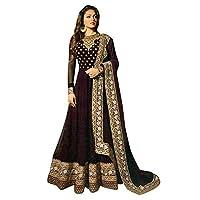 RANGE OF INDIA Women's Anarkali Salwar Kameez Designer Indian Dress Ethnic Party Embroidered Gown (Semi-Stitch (Free Size), Purple)