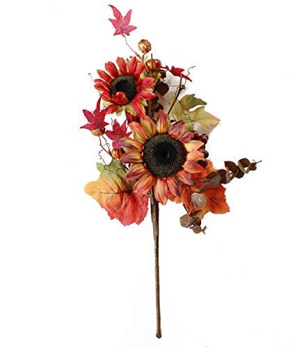 Charmly Künstliche Sonnenblume, Kürbis Blumen Fake Sonnenblumen Ahorn Blätter und Beeren für Home Hochzeit Party Halloween Weihnachten Decor 1Bouquet Sunflower Small Pumpkin