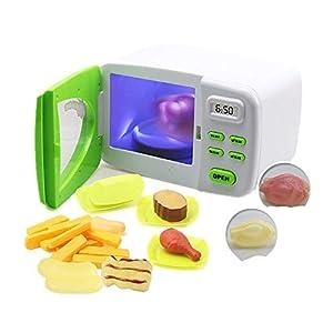 Local Makes A Comeback  -Juguete de la casa del horno de microondas de simulación de los niños con cocina de luz cambiante de color,Verde