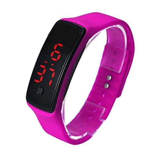 Amlaiworld LED Watch ,Unisex Moda Ultra sottile sport Silicone digitale LED sport orologio da polso ( rosa caldo)