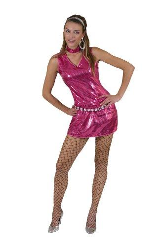 Disco Pailletten Kleid Pink Kostüm Damen Show Party Glamour Gr. 40 42
