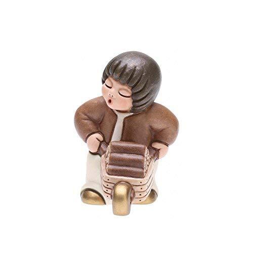Thun® - bambino con carriola - versione bianca - statuine presepe classico - ceramica - i classici