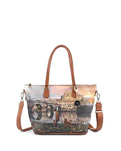 98890705bf24d Borsa Shopping Bag Zip L Tan Gold Roma Joyful Wind K 397