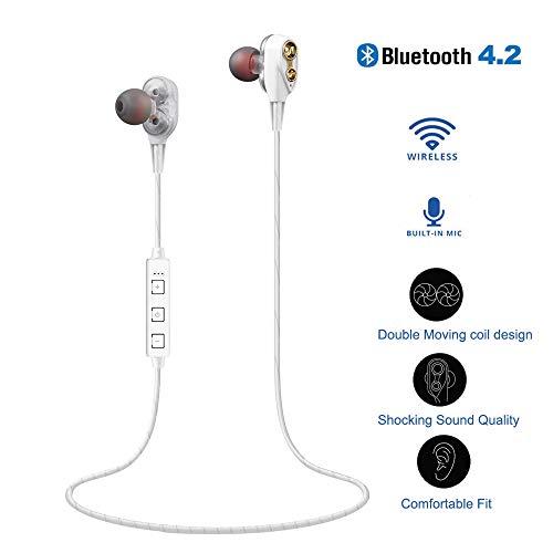 ort in-Ear Kopfhörer, V4.2 IPX5 Schweißresistent Stereo magnetischer Sport Ohrhörer, HiFi Heavy Bass Kopfhörer Dual Dynamic für iPhone, Huawei und Samsung (Weiß) ()