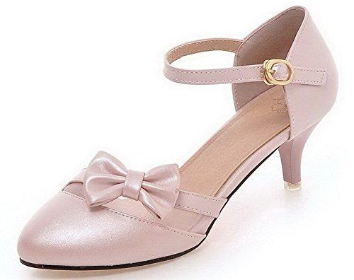 VogueZone009 Femme Couleur Unie Pu Cuir Rond à Talon Correct Boucle Chaussures Légeres Lightpink