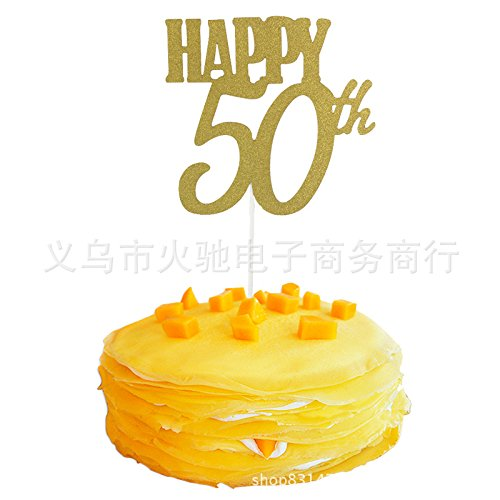 (Anniversary Cupcake Topper Birthday Kuchen Einsatz Karten, Party Decor Dekorationen Happy Kuchen Topper 100/Paket 50th gold)
