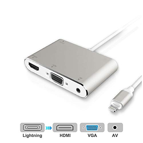 HDMI VGA AV Adapter Konverter, 2019 4 in 1 Plug and Play Digtal AV-Adapter für iPhone X / 8/8 Plus / 7 Plus / 6 / 6s Plus / 5 / 5s iPad iPod zu Projektor HDTV (Silber) (Av Hdmi Adapter Apple)